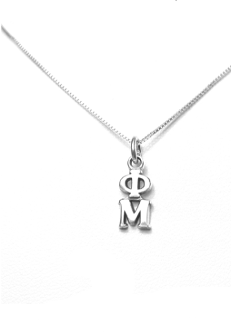 Phi Mu Lavalier. Sterling Silver or Gold