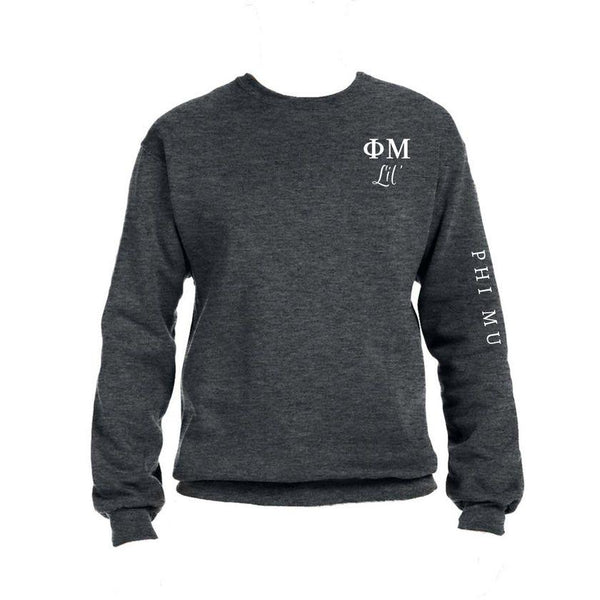 Phi Mu Little Crew Sweatshirt with Greek Letters and Sorority Name Down Arm