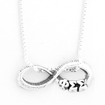 Phi Sigma Sigma infinity charm in sterling silver with Greek letters.