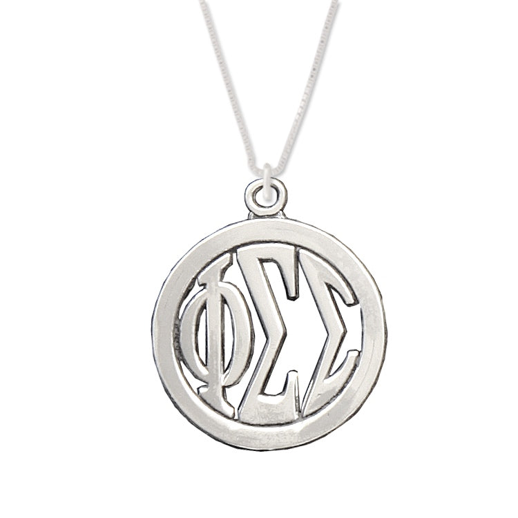 Phi Sigma Sigma Charm: Large Greek Monogram in Beautiful Sterling Silver