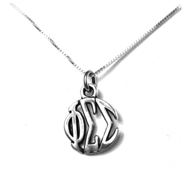 Phi Sigma Sigma Charm Sterling Silver Monogram Circle Drop. Chains available.