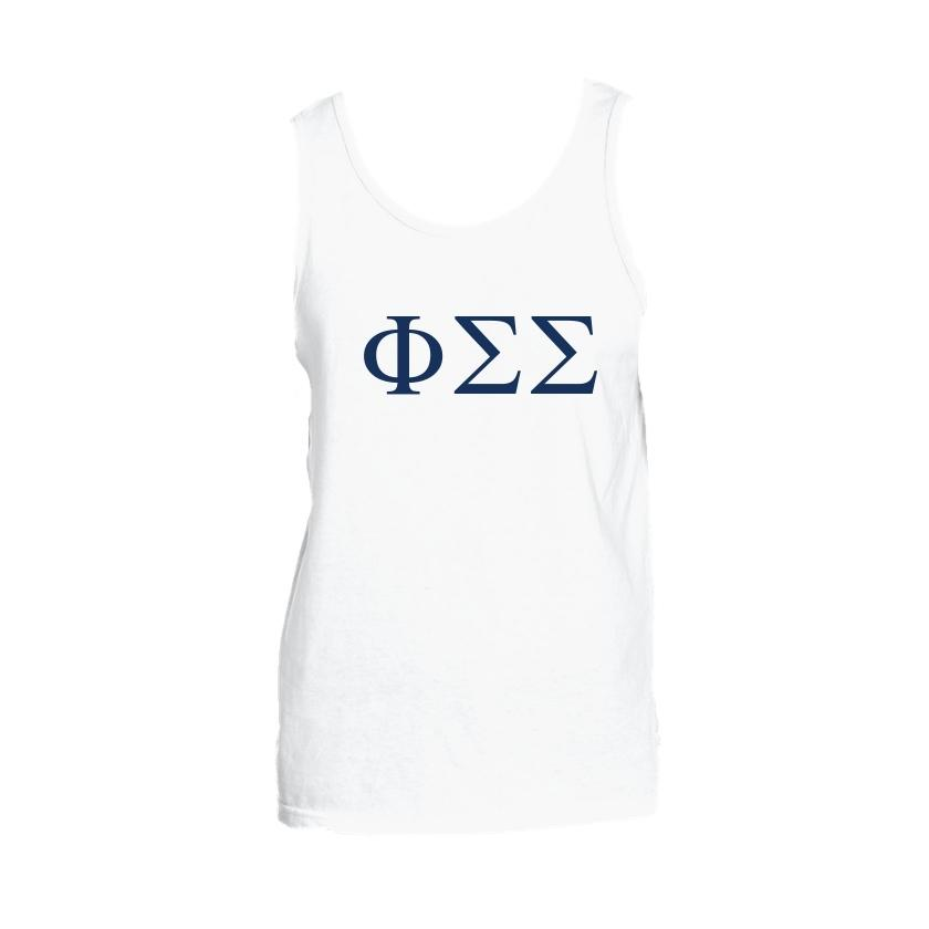 Phi Sigma Sigma Tank top with Large Greek Letters on front. Perfect sorority tank top for swimsuit coverup or oversized nightshirt.