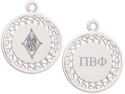Pi Beta Phi charm. Reversible filigree design with Greek Letters & Greek Crest.