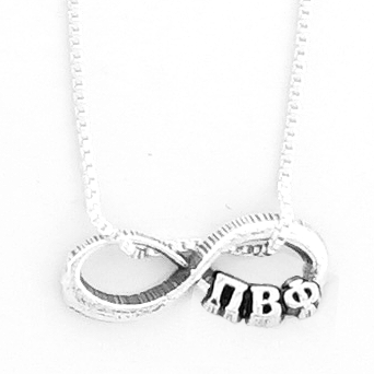 Pi Beta Phi infinity charm in sterling silver with Greek letters.
