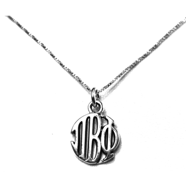 Pi Beta Phi Charm Sterling Silver Monogram Circle Drop. Chains available.