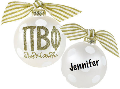 Pi Beta Phi Ornament . Gold Glitter . Optional Personalization