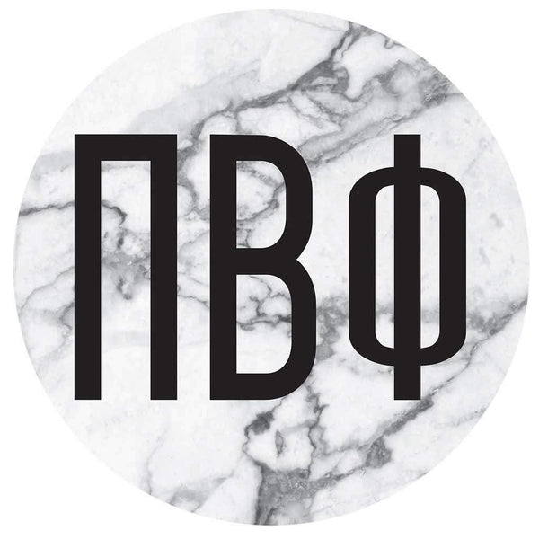 Pi Beta Phi Marble round sticker and decal. Cute as a bumper sticker, on a notebook, on a laptop, on a window. Affordable alumnae and big little gifts.