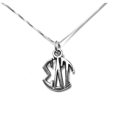 Sigma Delta Tau Charm Sterling Silver Monogram Circle Drop. Chains available.