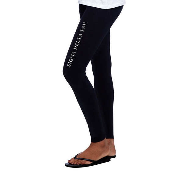 Sigma Delta Tau Leggings with Greek Words completes this trendy, college perfect look.
