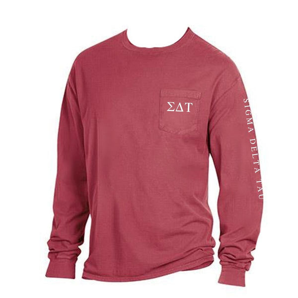 Red Sigma Delta Tau Long Sleeve Shirt with Greek Letters on Pocket + Greek Words down arm.