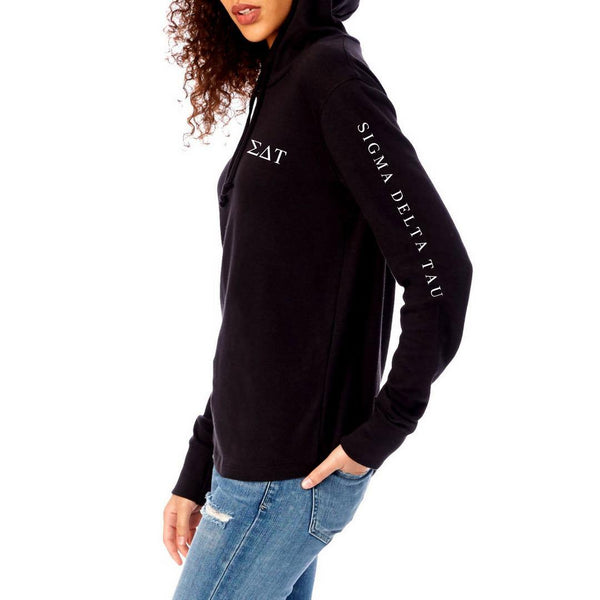 Sigma Delta Tau hoodie shirt in black with Greek Letters on front and sorority words down arm. Soft and cozy heavy knit long sleeve shirt. #SigmaDeltaTau clothing you will love to wear! Shop #SDT Clothing Collection for other coordinating items available only at M&D Sorority Gifts!