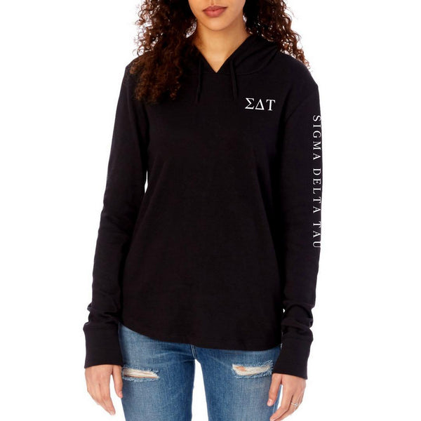 Sigma Delta Tau Long sleeve shirt. Sorority hoodie pullover with Greek Letters on front and sorority words down arm. #SigmaDeltaTau clothing you will love to wear!