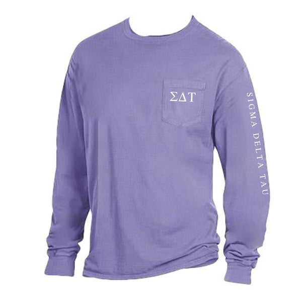 Purple Sigma Delta Tau Long Sleeve Shirt with Greek Letters on Pocket + Greek Words down arm.