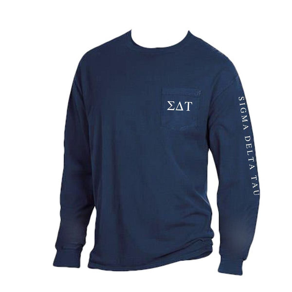 Navy blue Sigma Delta Tau Long Sleeve Shirt with Greek Letters on Pocket + Greek Words down arm.