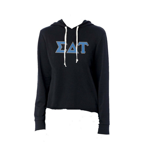 Sigma Delta Tau sweatshirt with stitched Greek Letters. #SigmaDeltaTau french terry hoodie sweatshirt. Shop #SDT Clothing Collection for other coordinating items available only at M&D Sorority Gifts!