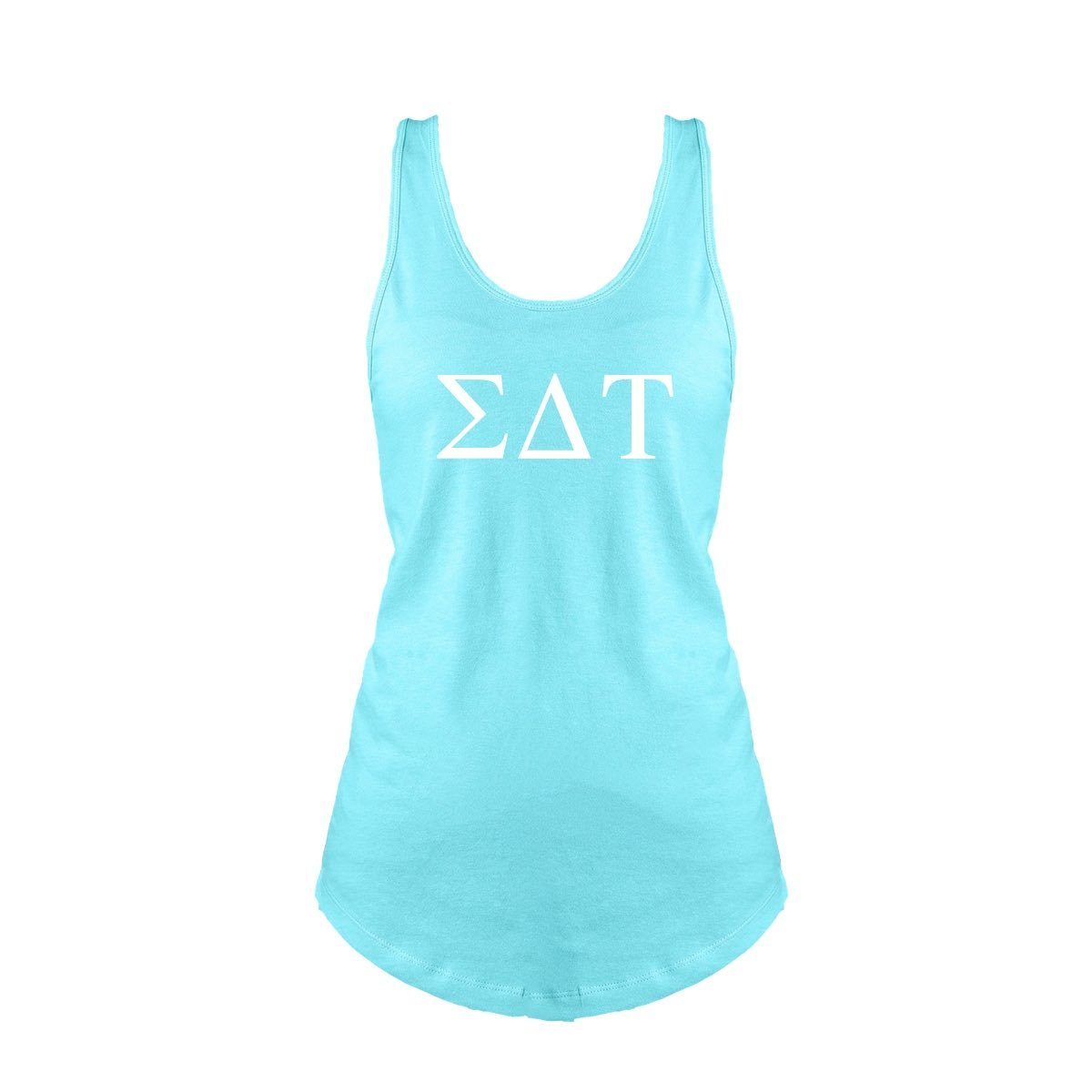 Aqua Sigma Delta Tau Tank top with Large Greek Letters on front. Perfect sorority tank top for swimsuit coverup or oversized nightshirt.