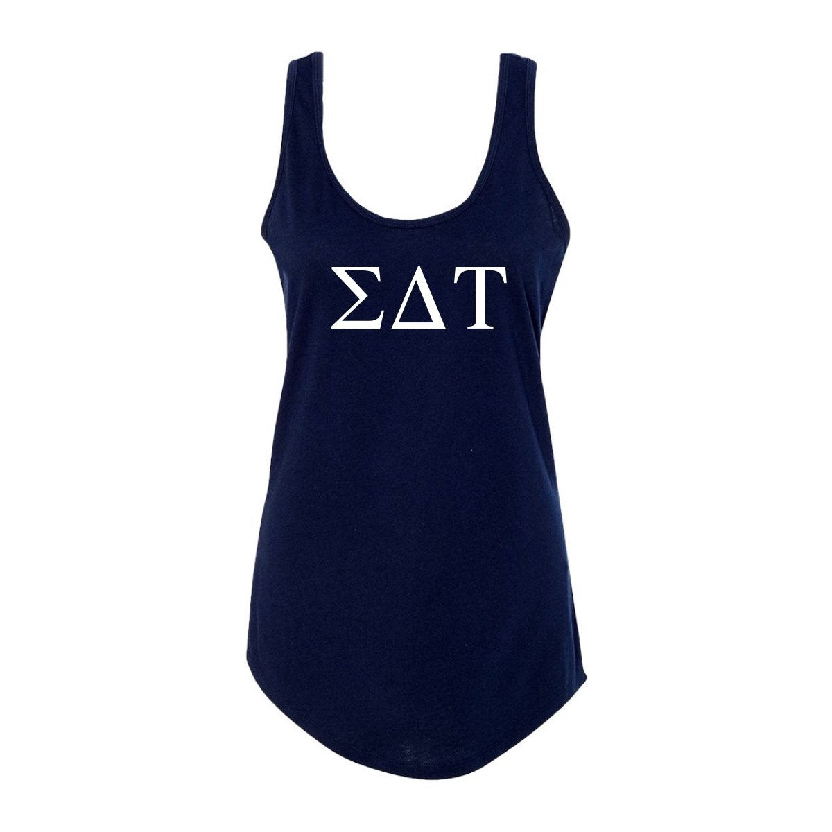 Navy Blue Sigma Delta Tau Tank top with Large Greek Letters on front. Perfect sorority tank top for swimsuit coverup or oversized nightshirt.
