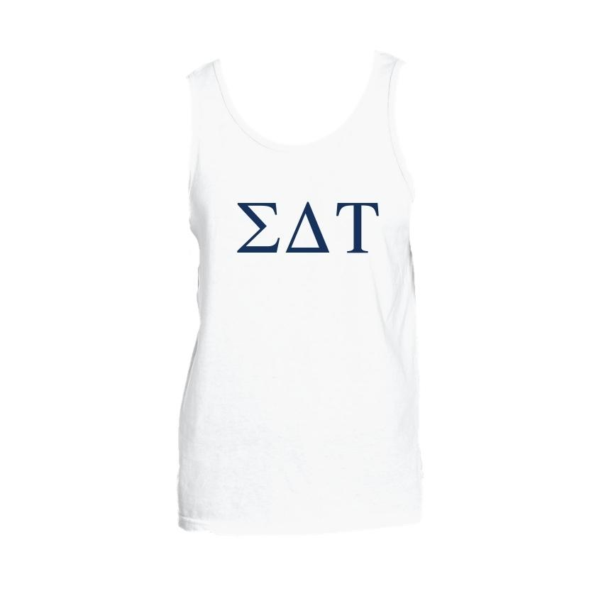 Sigma Delta Tau Tank top with Large Greek Letters on front. Perfect sorority tank top for swimsuit coverup or oversized nightshirt.
