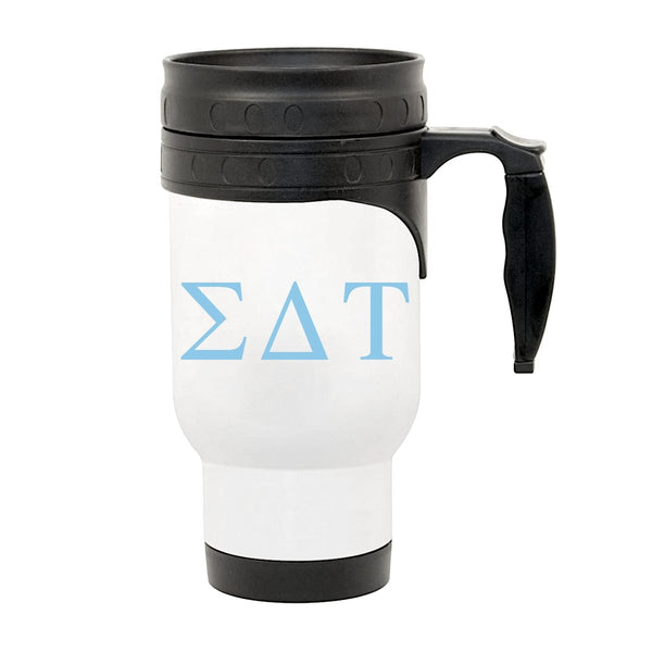 Sigma Delta Tau Travel Mug with Handle I Greek Letters I Optional Personalization