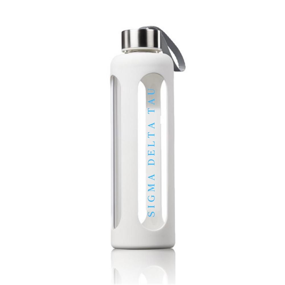 Sigma Delta Tau Water bottle made of glass and silicone, features sorority name in blue.