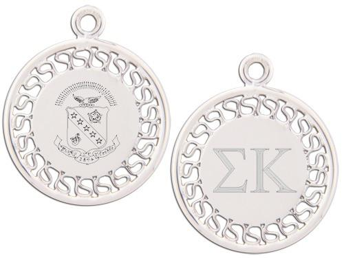 Sigma Kappa charm. Reversible filigree design with Greek Letters & Greek Crest.