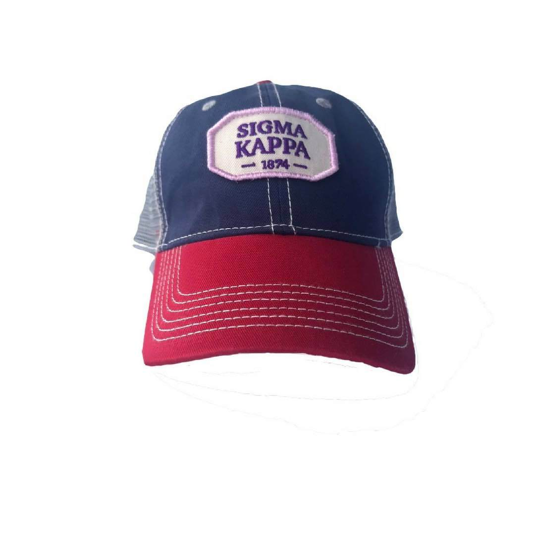 Sigma Kappa hat with Greek words and Greek Letters. Fun colorful trucker style. Shop #SigmaKappa Accessories. Perfect for bid day, big little, and more.