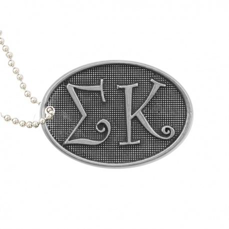 Sigma Kappa Luggage tag. Pewter Sorority Luggage Tag is the perfect $10 sorority gift. #SigmaKappa merchandise to love.