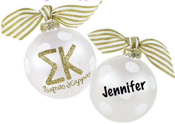 Sigma Kappa Ornament . Gold Glitter . Optional Personalization
