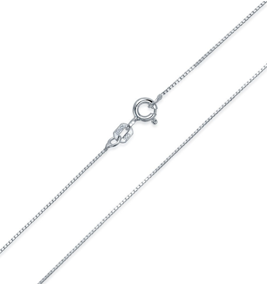 Add a sterling silver box chain to your sorority jewelry order.