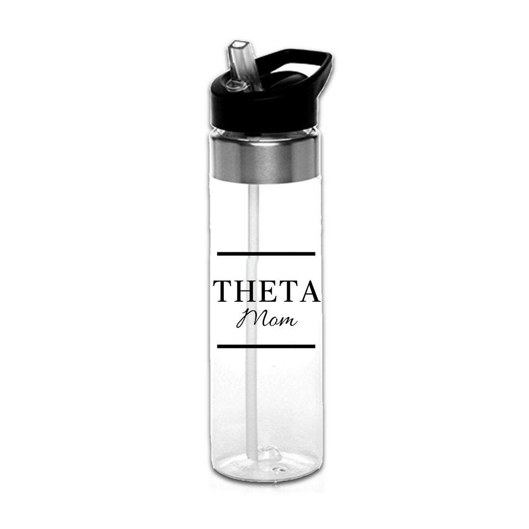 Kappa Alpha Theta Water Bottles with Greek Letters in black or gold with optional personalization. Super cute sorority gift filled with jelly beans or their favorite candy. Features screw off lid so fill it to the top with ice!