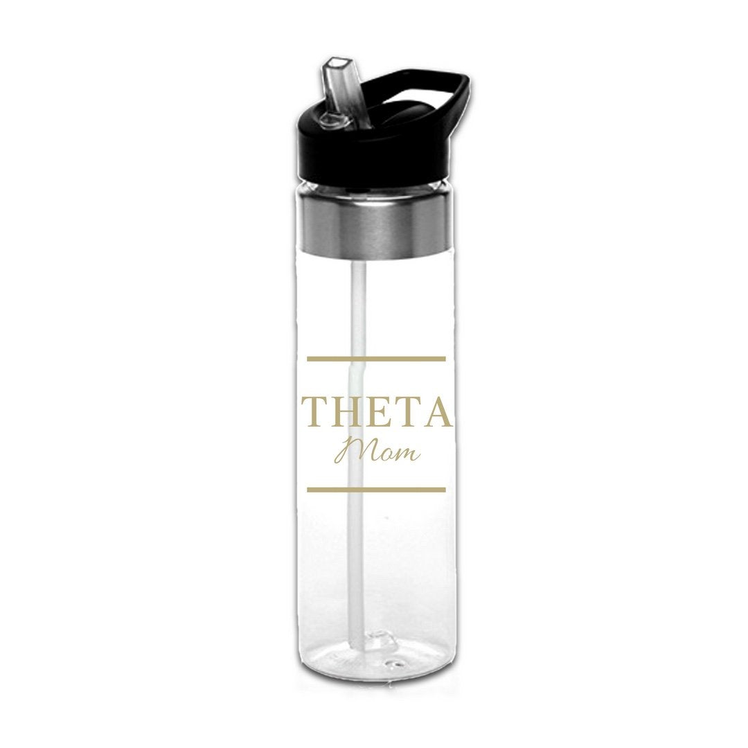 Kappa Alpha Theta Mom Water Bottle . Black or Gold