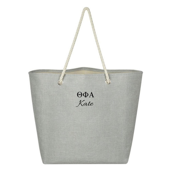 Personalized Sigma Kappa bag, oversized overnight tote or book bag.