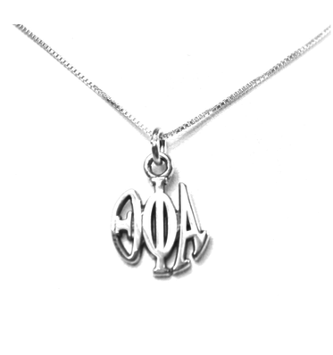 Theta Phi Alpha Charm Sterling Silver Monogram Circle Drop. Chains available.