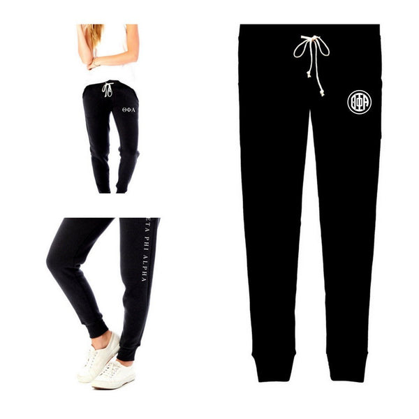 Theta Phi Alpha Jogger Sweatpants Collection. #ThetaPhiAlpha recommended one size fits all sorority gift.