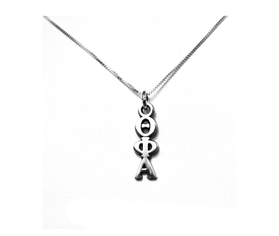 Theta Phi Alpha Lavaliers sterling silver. Add a 16 in, 18 in, or 20 in sterling silver box chain. Is it a gift? Let us ship for you in a gift box tied with ribbon and a handwritten gift card.