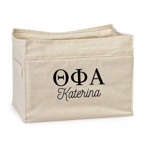 Theta Phi Alpha personalized storage bin for smart sorority decorations