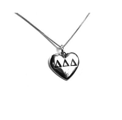 Delta Delta Delta charm in sterling silver for a beautiful sorority necklace.