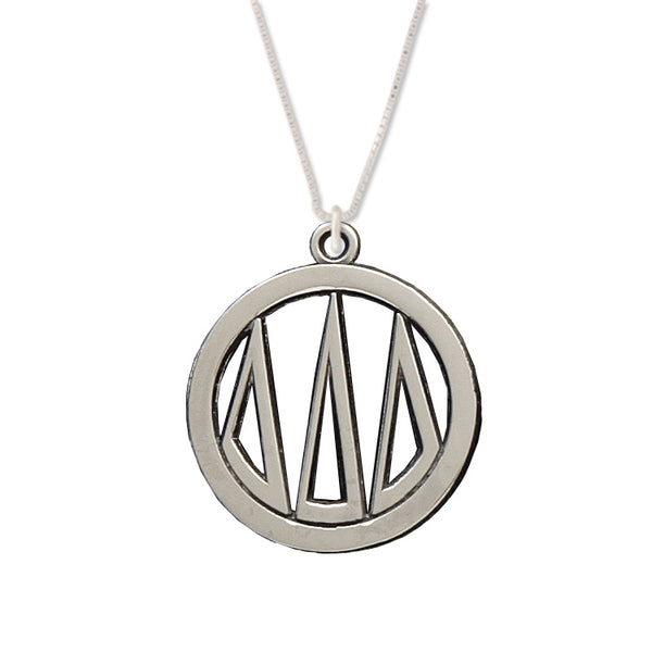 Tri Delta Charm: Large Greek Monogram in Beautiful Sterling Silver