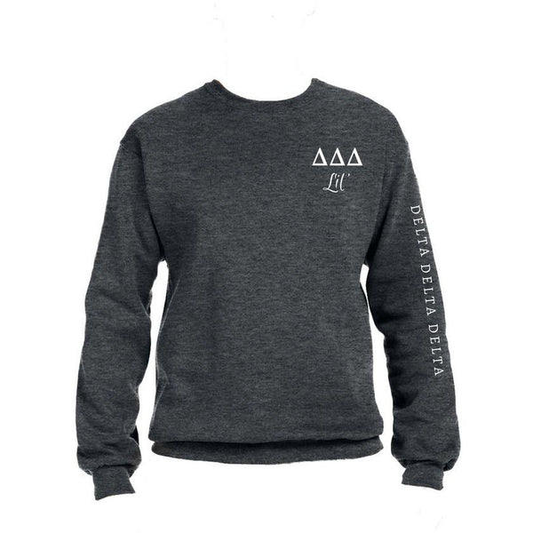 Tri Delta Little Crew Sweatshirt with Greek Letters and Sorority Name Down Arm