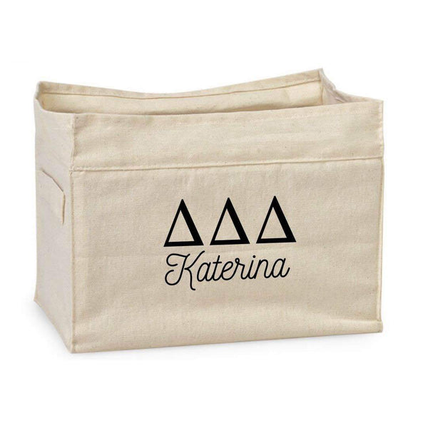 Delta Delta Delta personalized storage bin for smart sorority decorations