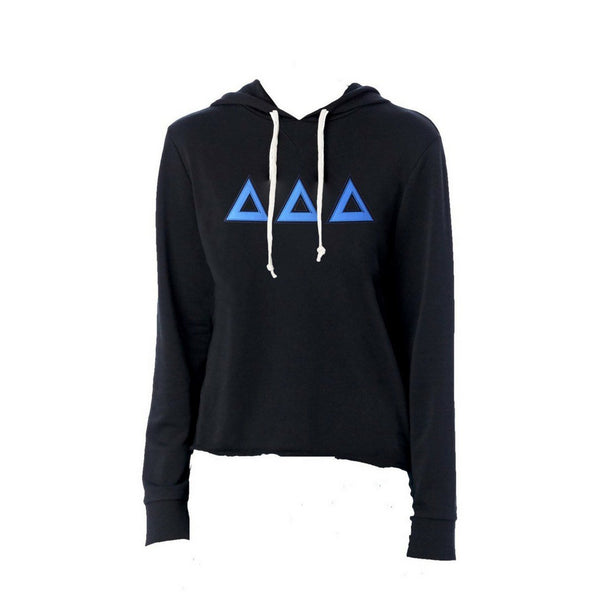 Tri Delta sweatshirt with stitched Greek Letters. #DeltaDeltaDelta french terry hoodie sweatshirt. Shop #DDD Clothing Collection for other coordinating items available only at M&D Sorority Gifts! #TriDelta