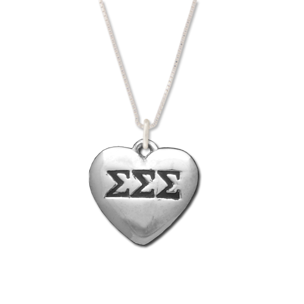 Sigma Sigma Sigma charm in sterling silver for a beautiful sorority necklace.