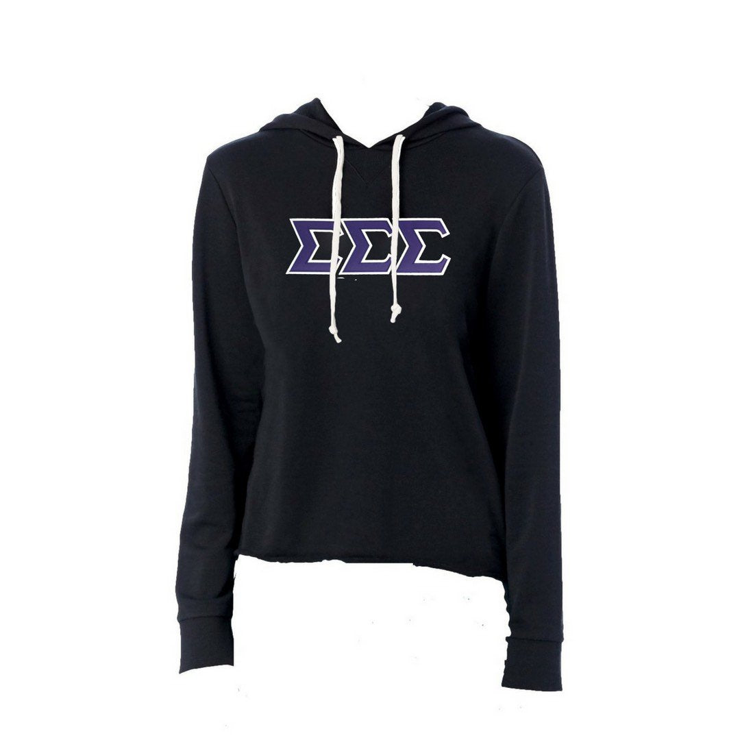 Tri Sigma sweatshirt with stitched Greek Letters. #TriSigma french terry hoodie sweatshirt. Shop #SigmaSigmaSigma Clothing Collection for other coordinating items available only at M&D Sorority Gifts! #SSS