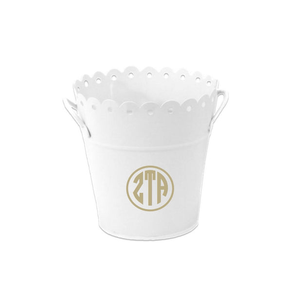 Zeta Tau Alpha bucket perfect for gift giving, baskets, chapter gifts and dorm room organizing