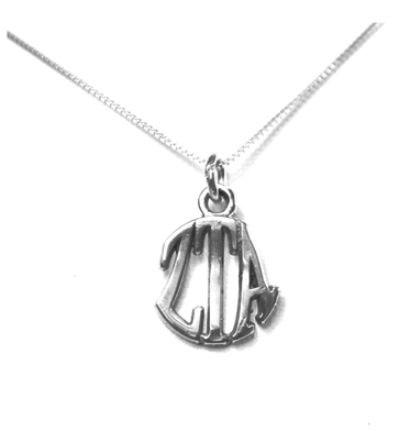 Zeta Tau Alpha Charm Sterling Silver Monogram Circle Drop. Chains available.