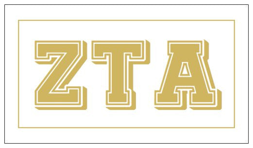 Zeta Tau Alpha Gift Card . Metallic Gold