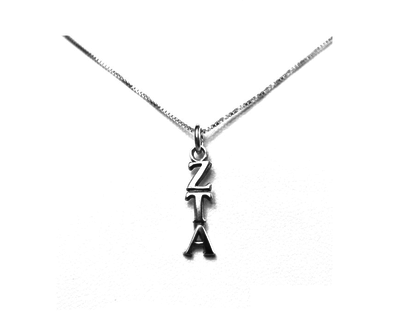 Zeta Tau Alpha Lavaliers sterling silver. Add a 16 in, 18 in, or 20 in sterling silver box chain. Is it a gift? Let us ship for you in a gift box tied with ribbon and a handwritten gift card.