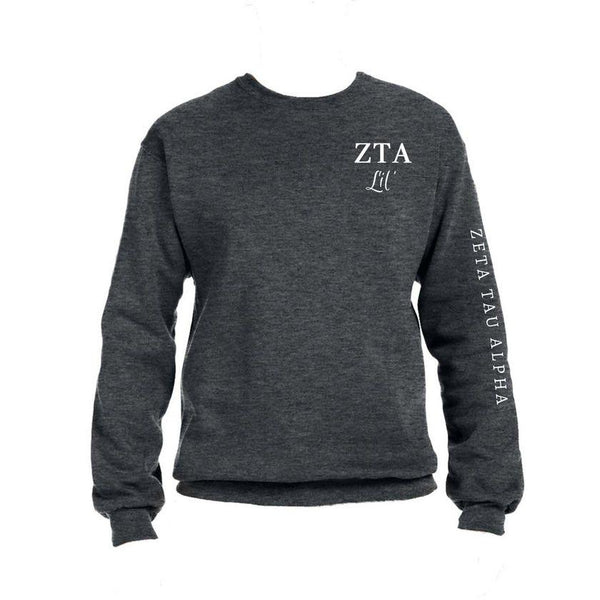 Zeta Tau Alpha Little Crew Sweatshirt with Greek Letters and Sorority Name Down Arm
