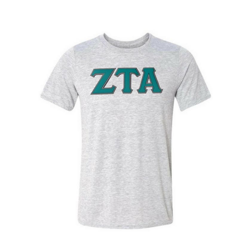 Zeta Tau Alpha T-shirt . Stitched Greek Letters . Two Layer