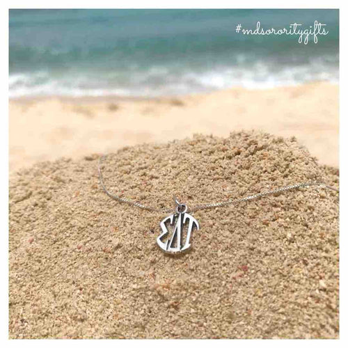 Sigma Delta Tau monogram necklace